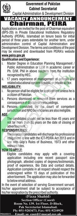 Career Opportunities in Cabinet Secretariat Govt of Pakistan 2016