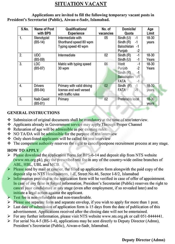 Recruitment Offers in President Secretariat Aiwan-e-Sadr for Stenotypist, Drivers, Naib Qasid 2016
