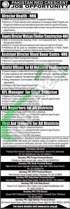 Career Opportunities in Pakistan Red Crescent Society for Director Health, Deputy Director Watsan, Shelter