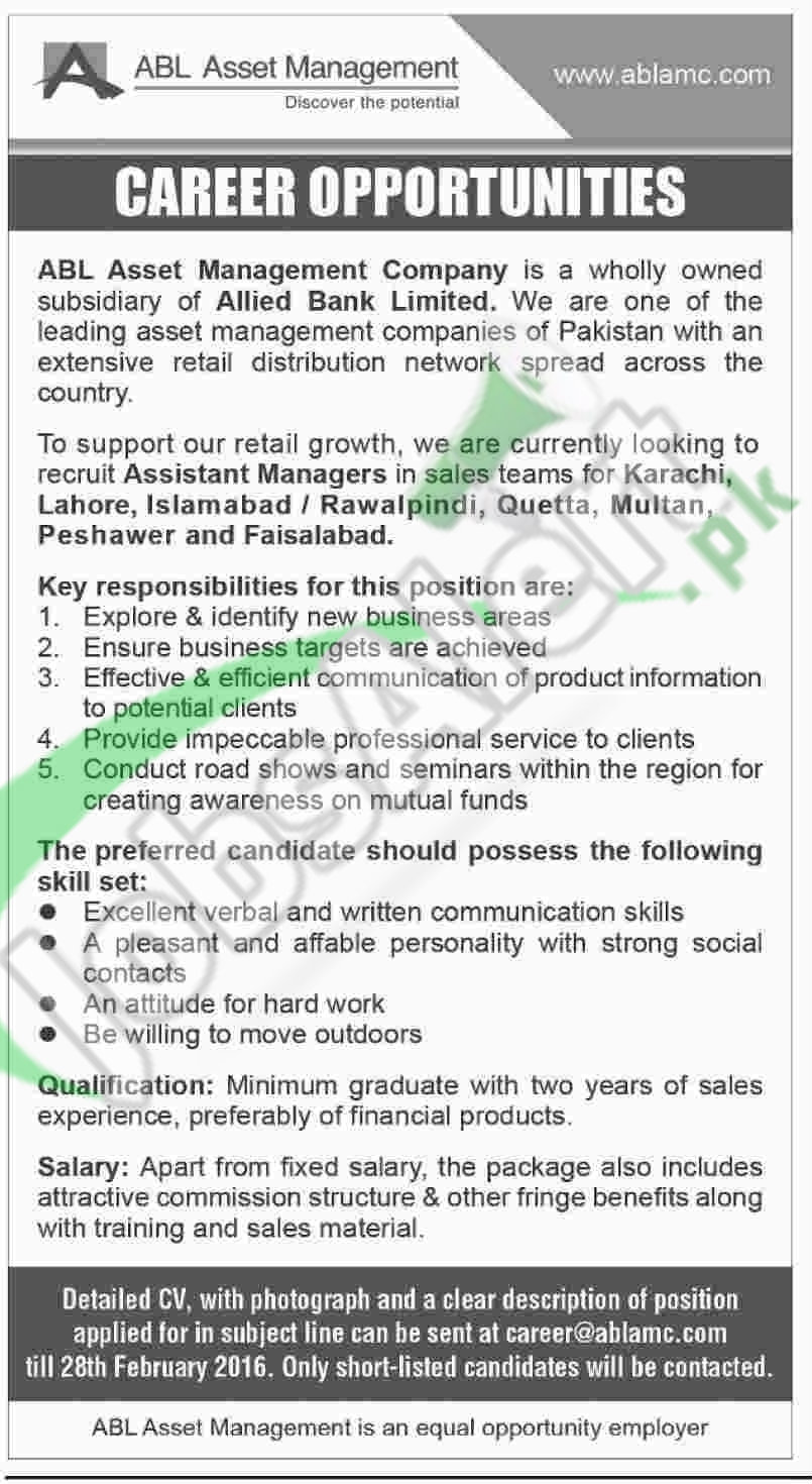 Recruitment Offers in ABL Asset Management Company 2016 Latest Advertisement in ABL Bank