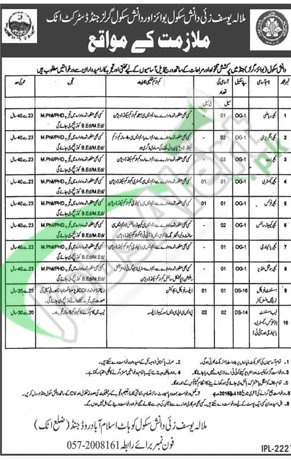 Situations Vacant in Career Opportunities in Malala Yousufzai Danish School of Boys & Girls 29 February 2016 Attock Latest Advertisement