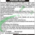 Employment Offers in Balochistan Education Endowment 20 February 2016 Quetta Application Form