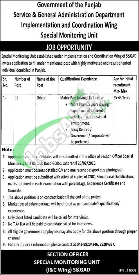 Service & General Administration Department Punjab Jobs