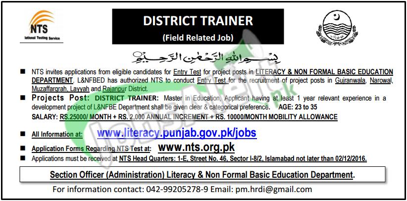 Punjab Literacy and Non Formal Basic Education Jobs