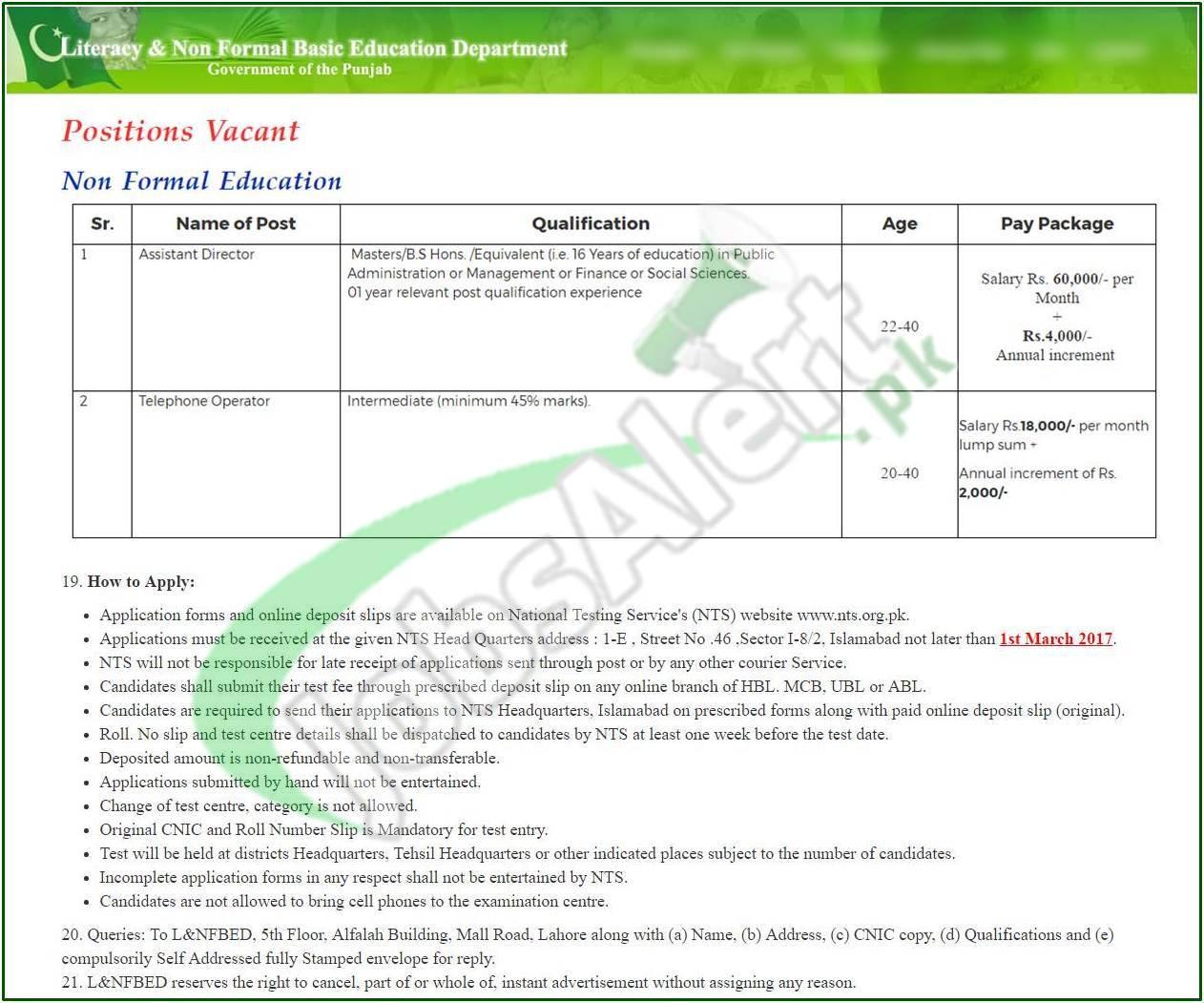 Literacy Department Punjab Jobs