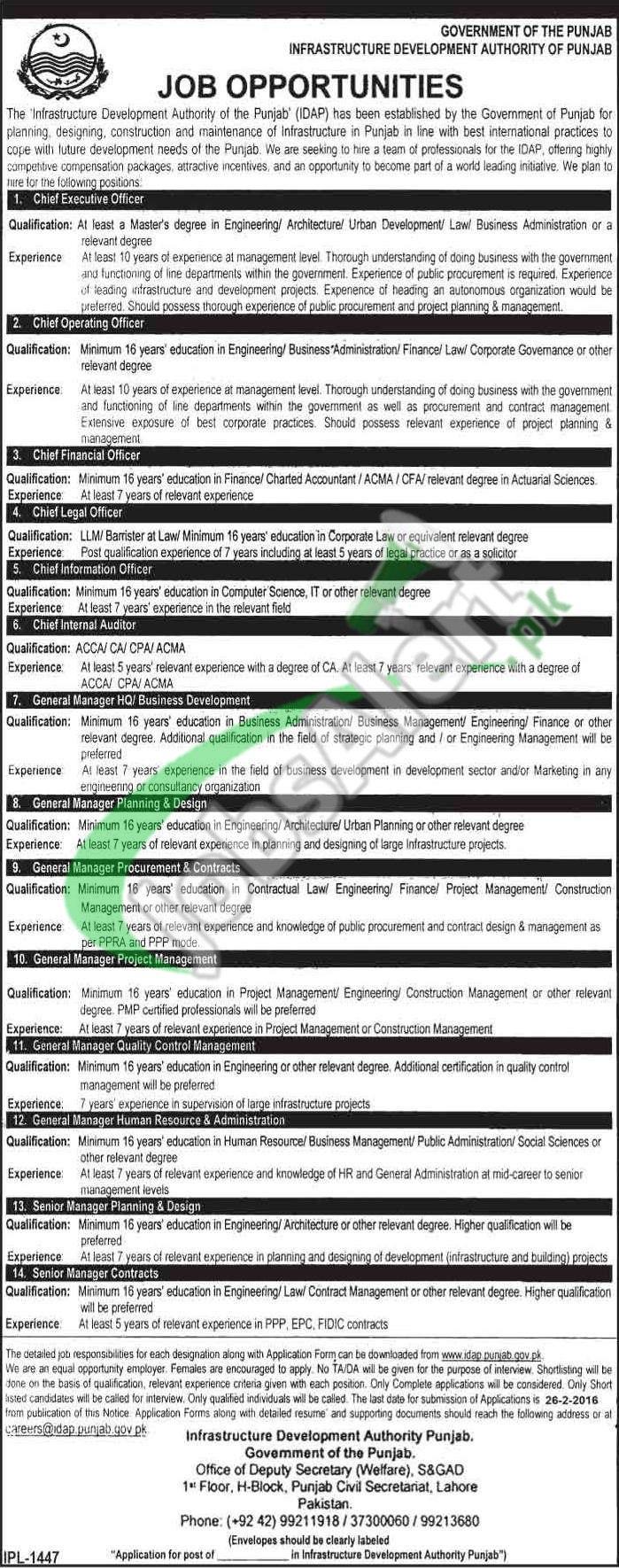 Punjab Infrastructure Development Board Jobs