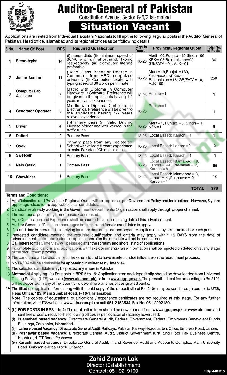 Siuations Vacant in Auditor General of Pakistan Jobs 28 February 2016 Application Form Latest