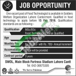 Soldiers Welfare Organization Lahore Jobs