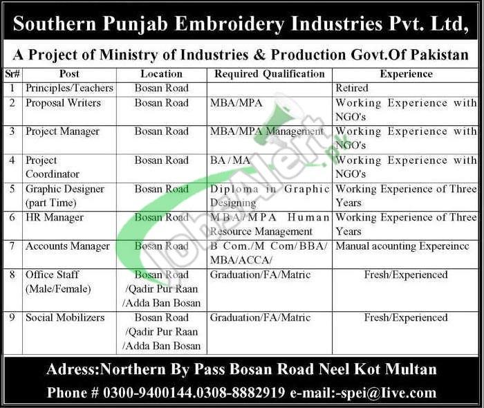 Southern Punjab Embroidery Industries Multan Jobs