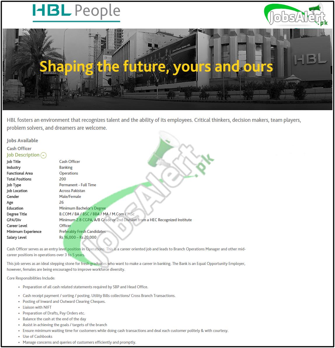 hbl 200 cash officer jobs 2017 male female apply online latest hbl cash officer jobs 2016 apply online