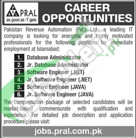 Situations Vacant in Pakistan Revenue Automation Pvt Ltd 24 Feb 2016 Islamabad Apply Online