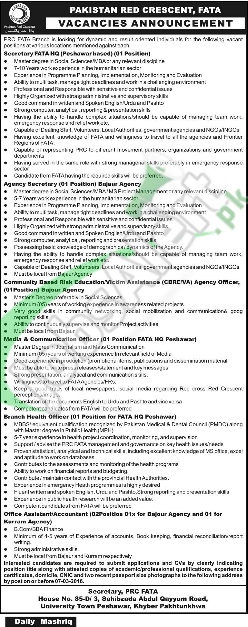 Employment Offers is Pakistan Red Crescent 2016 FATA HQ Peshawar, Bajaur Agency Latest Advertisement