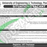 Situations Vacant in UET Peshawar 24 February 2016 for Lab Engineer Application Form