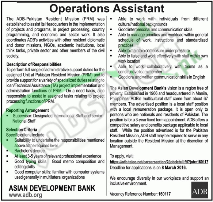 Situations Vacant in Asian Development Bank 2016 For Operation Assistant Apply Online Latest