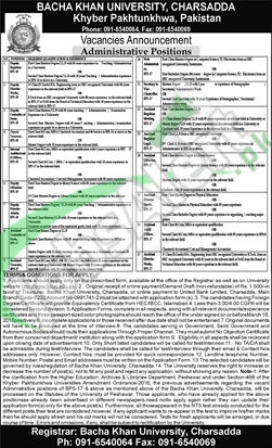 Situations Vacant in Bacha Khan University 29 February 2016 Charsadda Eligibility Criteria