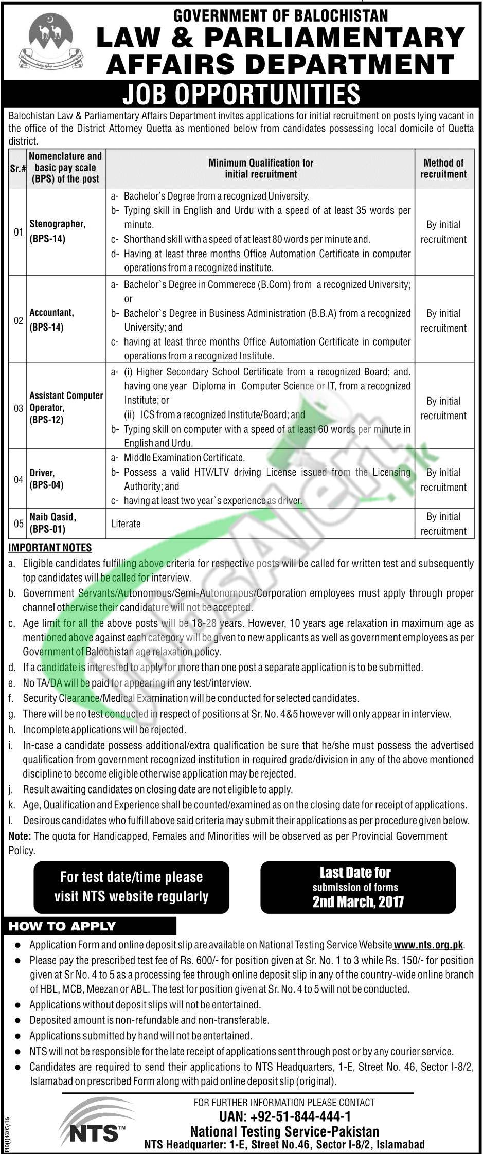 Law and Parliamentary Affairs Department Balochistan Jobs