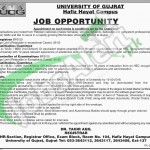 Situations Vacant in University of Gujrat 2016 Latest Advertisement