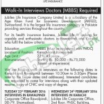 Situations Vacant in Jubilee Life Insurance February 2016 Fort Doctors in Karaci and Rawalpindi