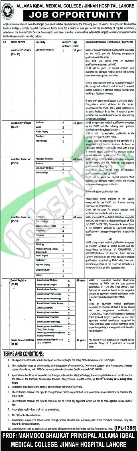 Allama Iqbal Medical College 06 February 2016 Recruitment Offers