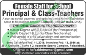 Employment Offers in Lahore For Principal and Class Teacher 09 February 2016