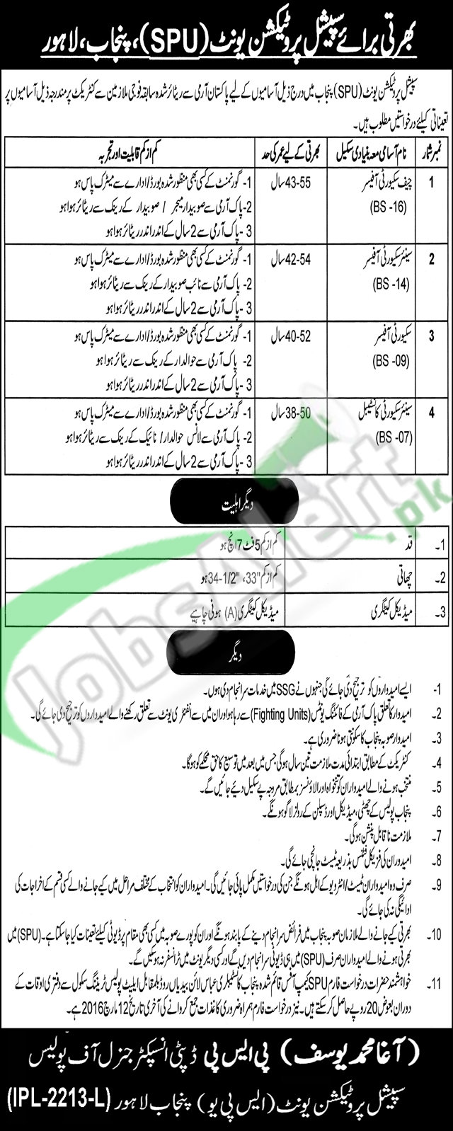 Situations Vacant in Special Protection Unit 25 February 2016 Punjab, Lahore For Security Officer, Sr Security Constable Latest
