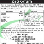 Situations Vacant in Quid-e- Azam Industrial Estate 2016 Lahore For Secretary