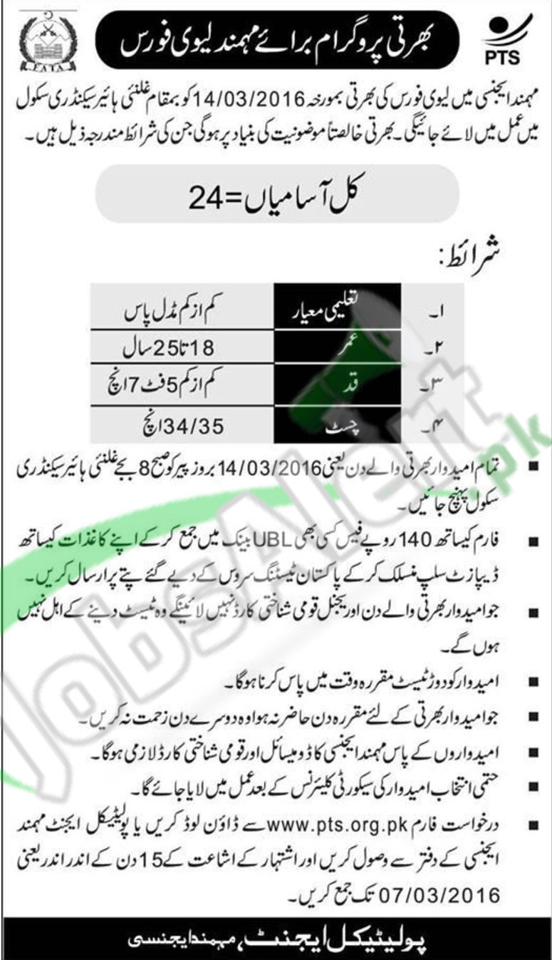 Situations Vacant in Mohmand Agnecy 2016 For Recruitment of Levies Forces Career Offers