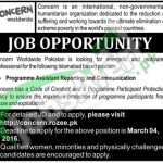 Situations Vacant in Concern International NGO Jobs 26 February 2016 For Program Asstt Communication & Reporting in Islamabad