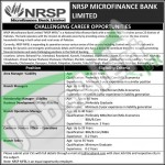 Employment Offers in NRSP Microfinance Bank Ltd 2016 Career Oportunities