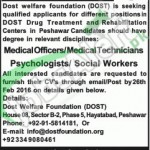 Employment Offers in Dost Welfare Foundation February 2016 Peshawar NGO Career Opportunities