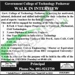 Walk In Interview in Govt College of Technology 2016 Peshawar Latest Advertisement