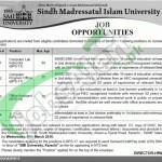 Situations Vacant in Sindh Madressatul Islam University Jobs 29 February 2016 Karachi Eligibility Criteria