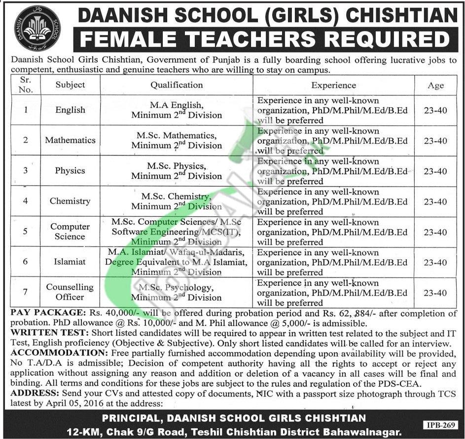 Daanish School Chishtian Jobs