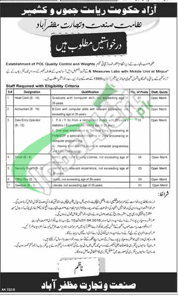 AJK Industry and Trade Department Jobs