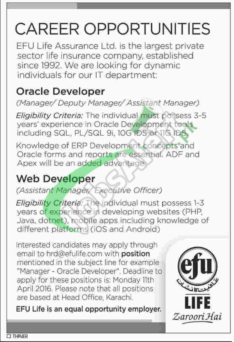 EFU Life Insurance Jobs Mar / Apr 2016 for Oracle & Web ...