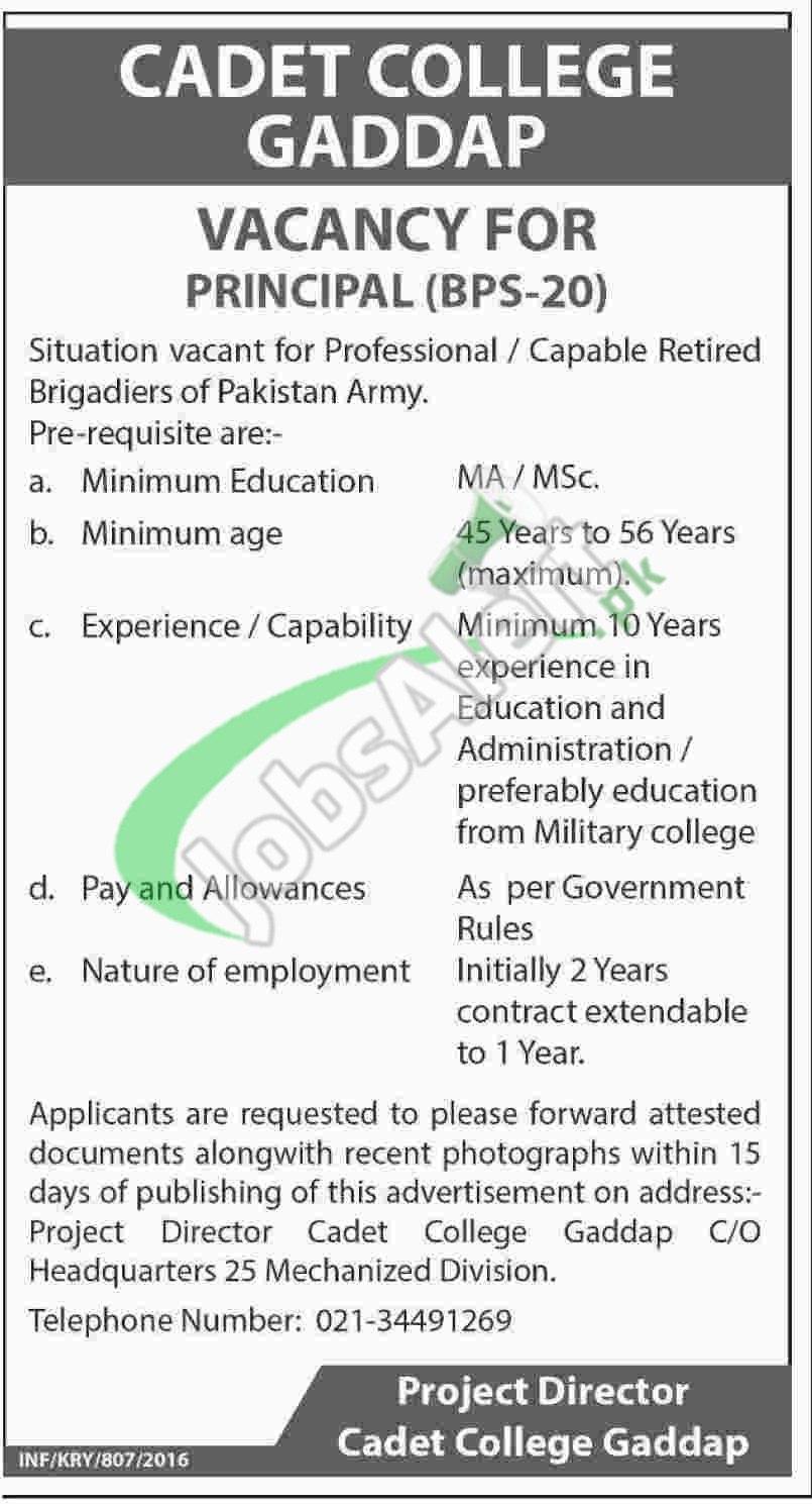Cadet College Gadap Jobs
