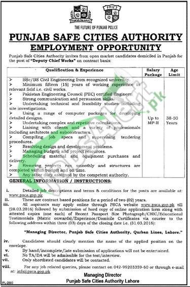 Punjab Safe City Authority Jobs