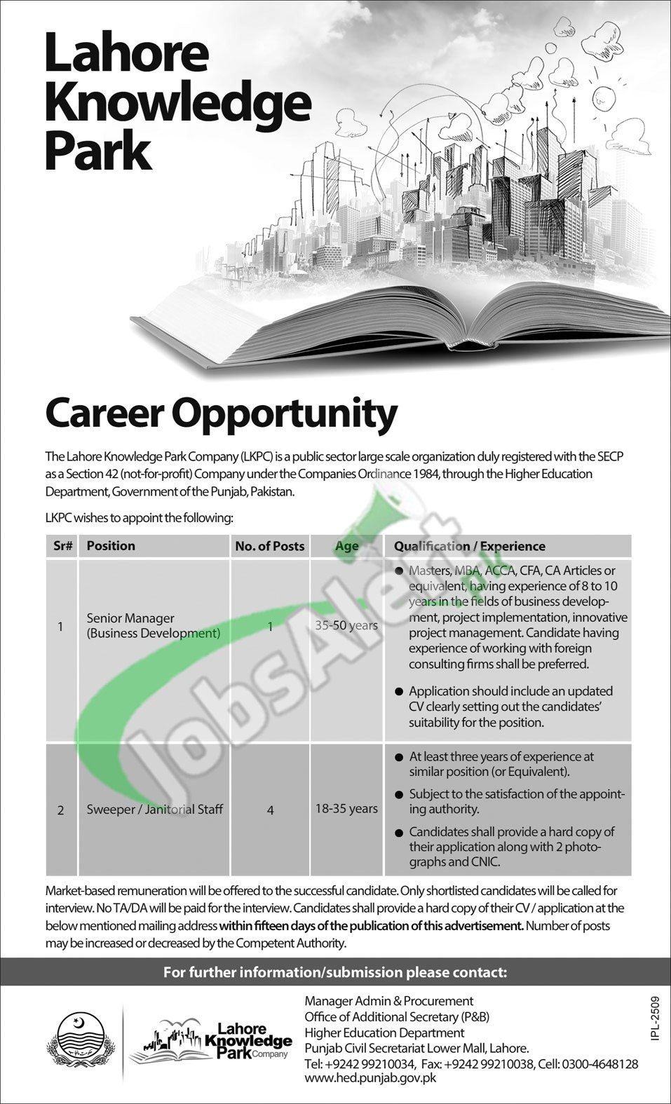 Lahore Knowledge Park Company Jobs