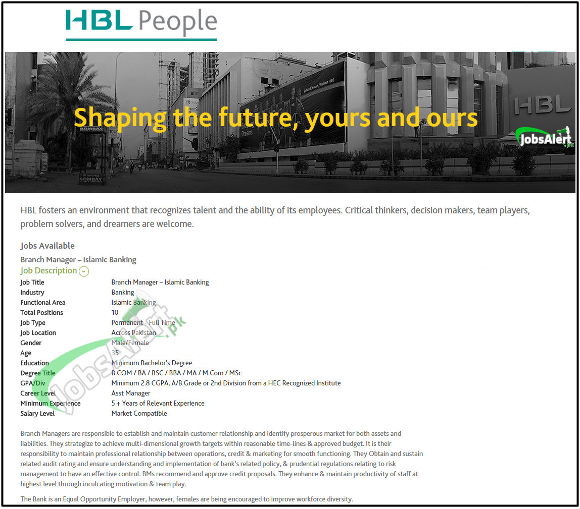 branch manager jobs in hbl habib bank limited apply online type in google search hbl jobs