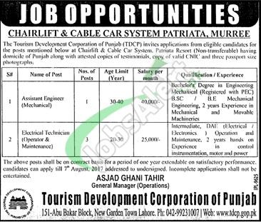 Tourism Development Corporation of Punjab Jobs