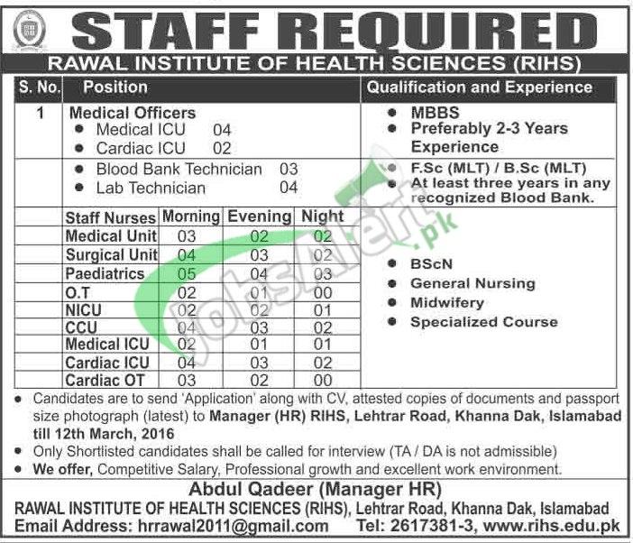 Rawal Institute of Health Sciences Jobs