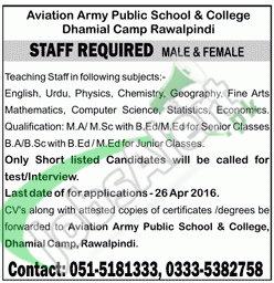 Career Offers in Army Aviation Public School & College Rawalpindi 2016 Latest