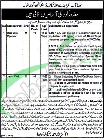Situations Vacant in BISE Gujranwala April 2016 For Data Entry Operator
