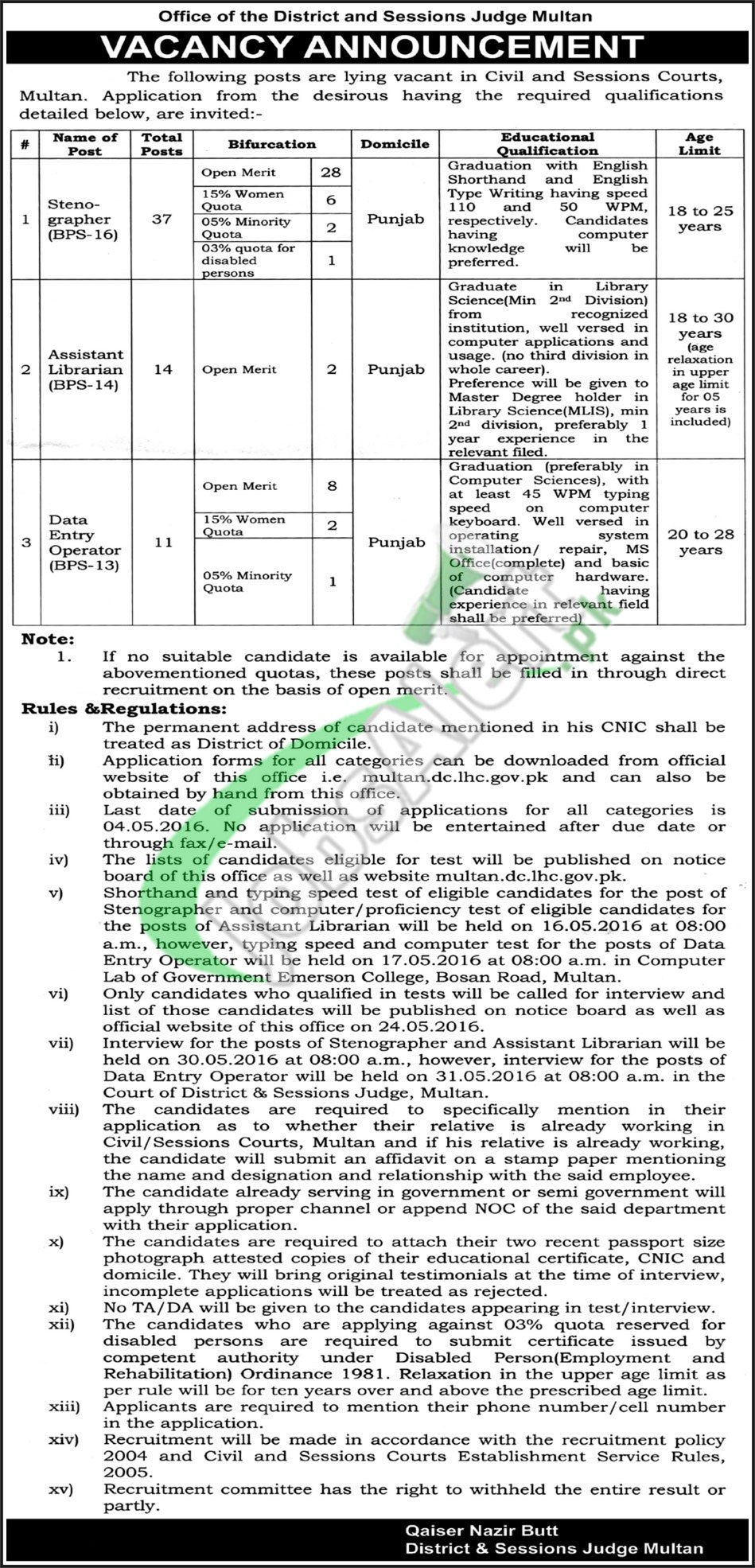 District and Session Court Multan Jobs