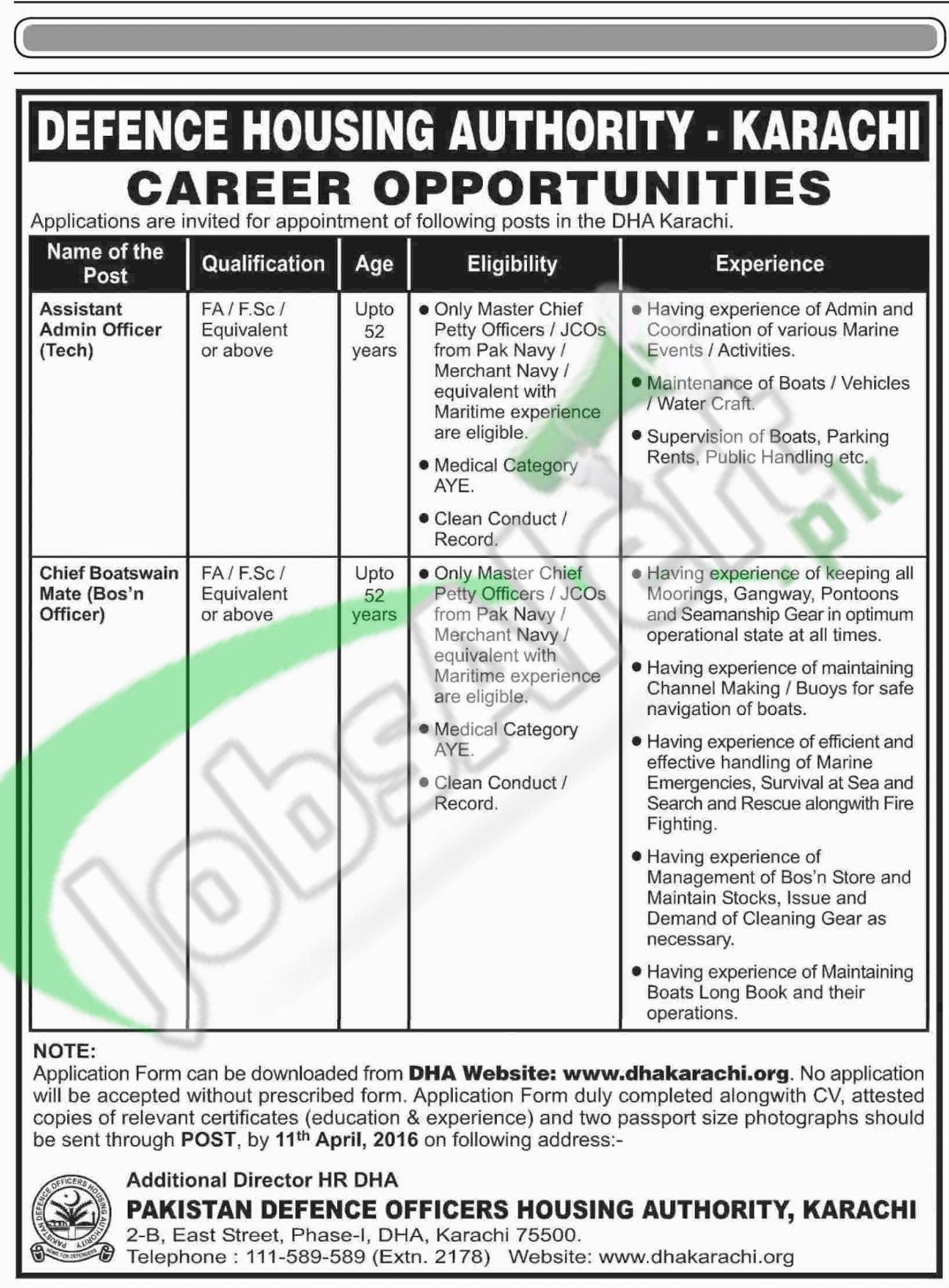 Career Offers in Defence Housing Authority Karachi 2016 www.dhakarachi.org