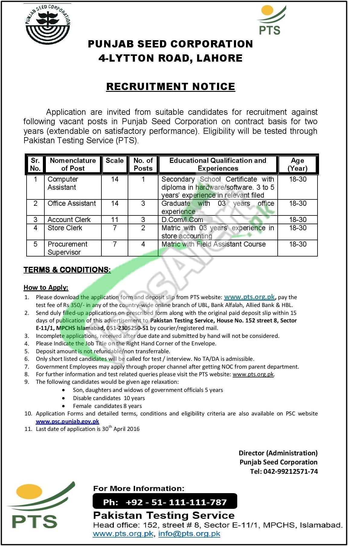 Punjab Seed Corporation Jobs