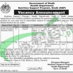 Situations Vacant in Nutrition Support Program Health Department Sindh Jobs 2016 Latest