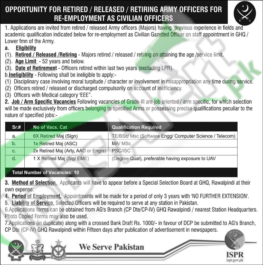 Caree Opportunities in Pakistan Army ISPR Rawalpindi April 2016 For Civilian Officers