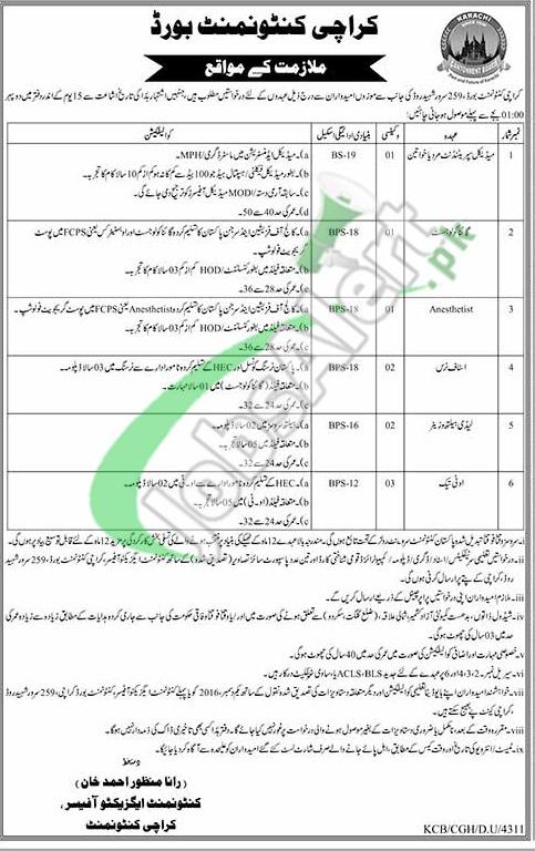 Karachi Cantonment Board Jobs