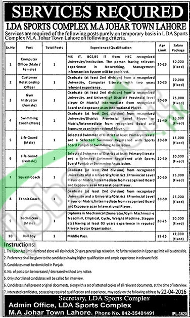 Recruitment Offers in LDA Lahore April 2016 Interview Date